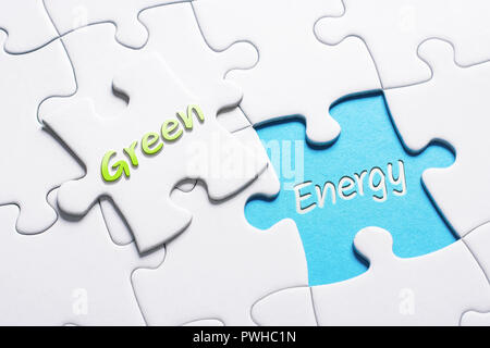 The Words Green And Energy In Missing Piece Jigsaw Puzzle - Stock Image