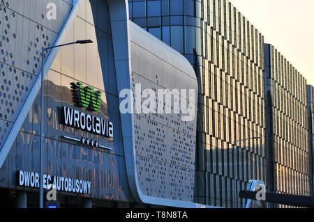 Wroclavia Shopping center logo in Wroclaw, Poland. Main Bus station. - Stock Image