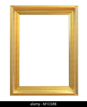 3D render of Classic Vintage Gold Frame. Isolated and Blank for Copy Space. - Stock Image