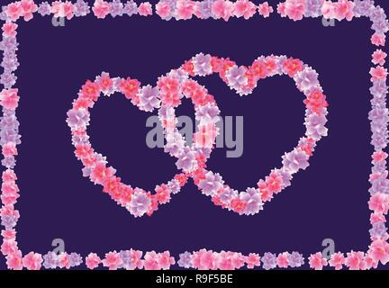Valentine s Day. Two Heart of pink flowers Sakura, Cherry Blossom on a dark background in a frame of flowers. illustration - Stock Image