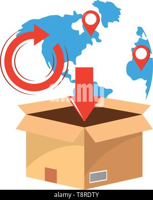 box with map and location points return and download arrow vector illustration graphic design - Stock Image