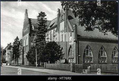 GERMANY - CIRCA 1962: A postcard printed in Germany, shows a Schiller School, Juterbog, circa 1962 - Stock Image