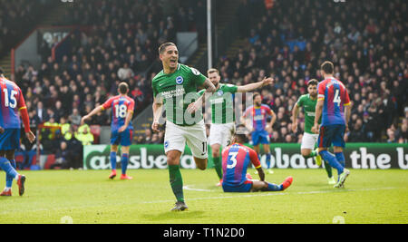 Anthony Knockaert of Brighton celebrates scoring the winner during the Premier League match between Crystal Palace and Brighton & Hove Albion at Selhurst Park London . 09 March 2019 Editorial use only. No merchandising. For Football images FA and Premier League restrictions apply inc. no internet/mobile usage without FAPL license - for details contact Football Dataco - Stock Image