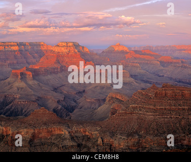 Sunset from Grand Canyon viewed from Yaki Point on South Rim, Grand Canyon National Park, Arizona, USA - Stock Image
