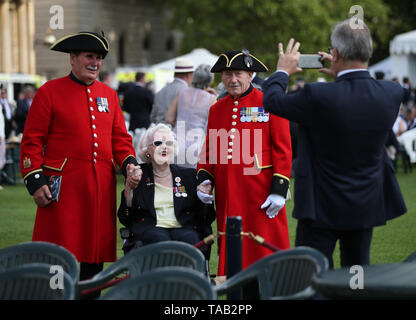 Veterans during the Not Forgotten Association Annual Garden Party at Buckingham Palace in London. - Stock Image