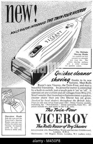 Viceroy razor shaver shaving advert, advertising in Country Life magazine UK 1951 - Stock Image