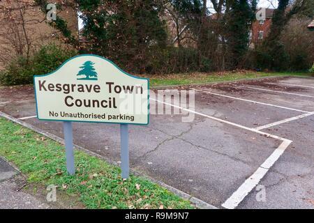 Kesgrave town council sign. Suffolk, UK. December 2018. - Stock Image