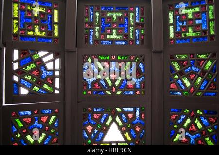 Stained glass window in Chitral Fort - Stock Image