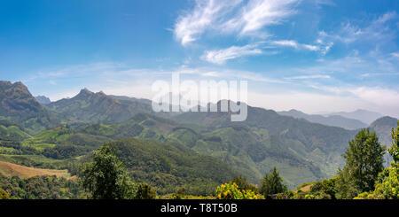 Horizontal panoramic view across the Kanan Devan Hills in Munnar, India. - Stock Image