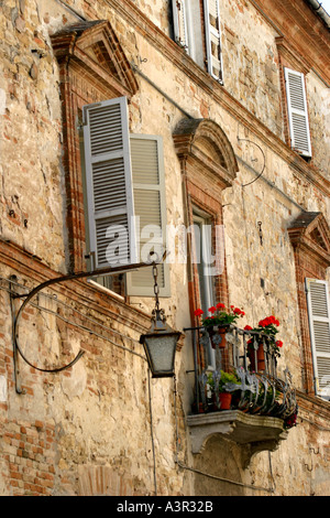 Typical charming Romeo and Juliet Balcony in Penne san Giovanni Le Marche Italy - Stock Image