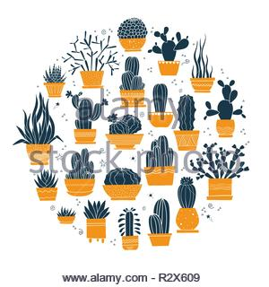 Collection of hand-drawn cacti and succulents in pots - Stock Image