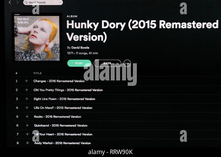 David Bowie album Hunky Dory Spotify page - Stock Image
