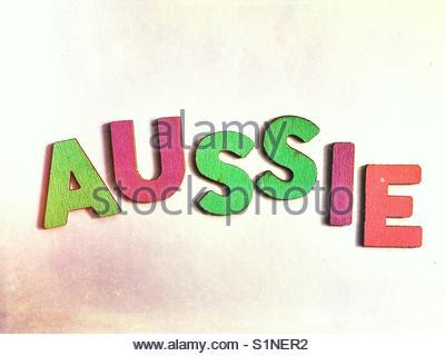 Aussie (word) - Stock Image