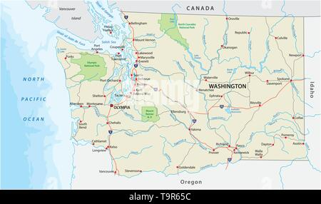 washington state road and national park vector map - Stock Image