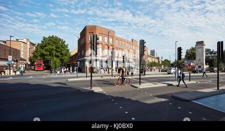 Panorama of Stockwell intersection. Stockwell Framework Masterplan, London, United Kingdom. Architect: DSDHA, 2017. - Stock Image
