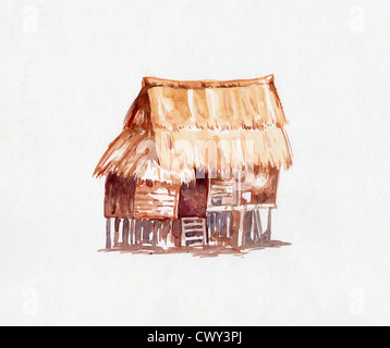 Watercolor painting of wooden village house - Stock Image