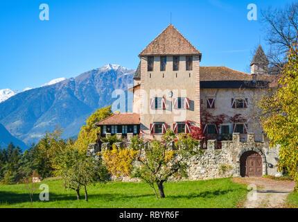 Castle Malgolo Europe, Italy, Trentino Alto Adige region, Trento district, Malgolo city, Non valley - Stock Image