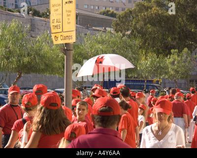 On the morning of the 4th August 2004 some 17 000 people dressed in the red and white colours of Gibraltar linked hands for 15 - Stock Image