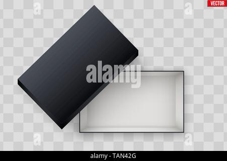 Blank of Open Black Shoe Box - Stock Image
