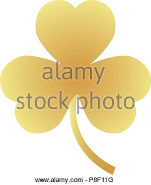 Golden clover emblem, isolated vector illustration - Stock Image