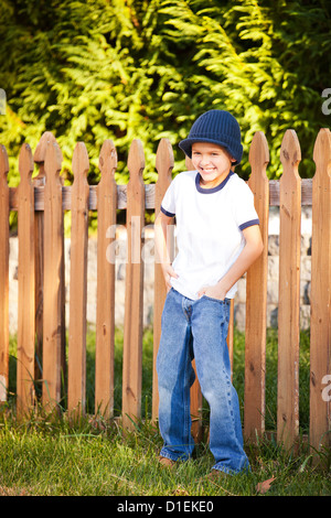 portrait of 8 year old boy - Stock Image