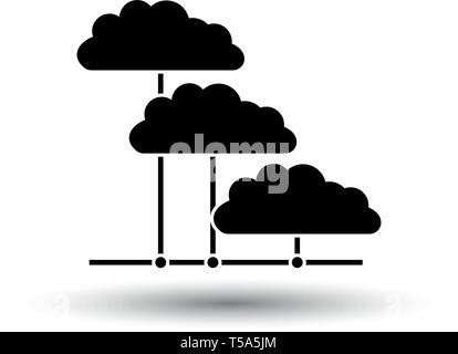 Cloud Network Icon. Black on White Background With Shadow. Vector Illustration. - Stock Image