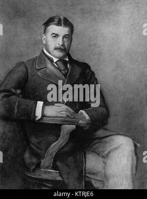 Portrait of Sir Arthur Sullivan (1888), 1842-1900, English Composer. Engraving from the painting by J E Millais - Stock Image
