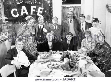 File photo dated 20/12/1989 of 9 of the cast of Last of the Summer Wine in the Christmas special. Back row (l-r): - Stock Image