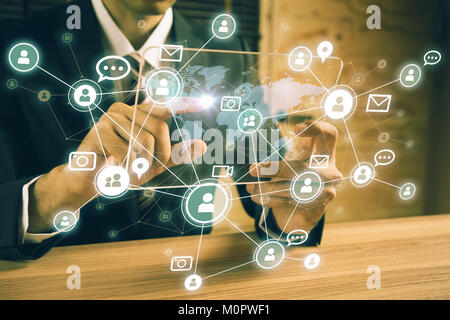 Social networking service concept. Global communication network. - Stock Image