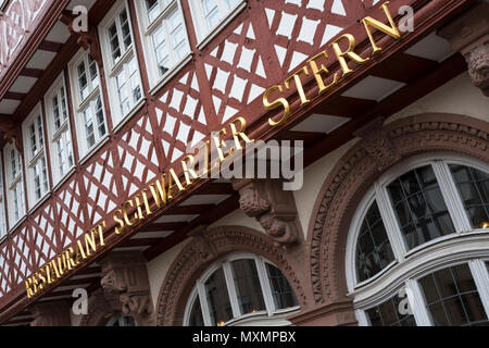Exterior of traditional half timber buildings seen in the old town (Altstadt) Romer district of Frankfurt am Main, Hesse, Darmstadt, Germany - Stock Image