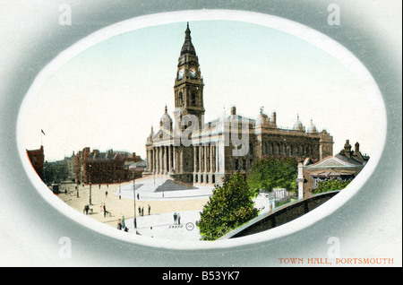 Old vintage seaside picture postcard of the Town Hall Portsmouth  EDITORIAL USE ONLY - Stock Image