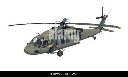 Helicopter in flight, military aircraft, army chopper isolated on white background, 3D rendering - Stock Image
