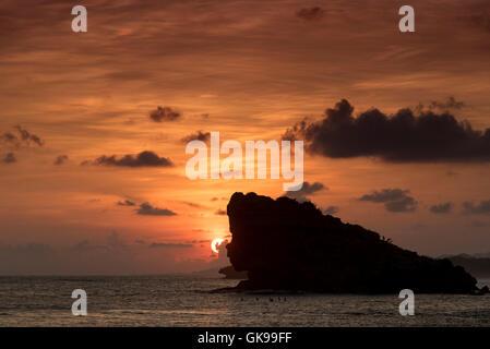 Sunset at the lagoon of Watu Karung, Java, Indonesia - Stock Image