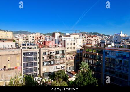 Barcelona, Spain, October 2018. View from the roof of Antoni Gaudi's Casa Mila also known as La Pedrera. Bright sunny morning. - Stock Image
