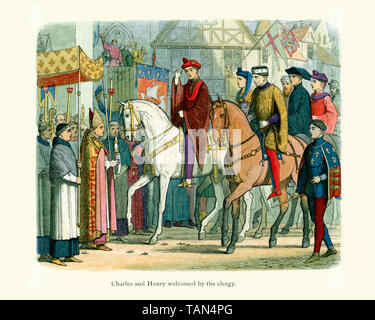 King Charles VI of France and King Henry V welcomed by the clergy as they make their entrance to the allied courts in Paris in 1420 - Stock Image