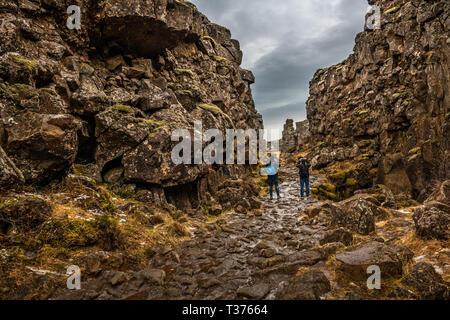 Thingvellir is a national park in the municipality of Bláskógabyggð in southwestern Iceland. Þingvellir is a site of historical, cultural, and geologi - Stock Image