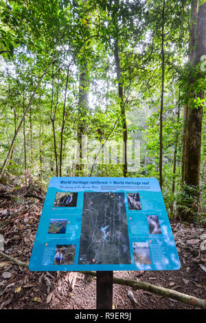 World Heritage rainforest sign in Hypipamee National Park, a  Atherton Tableland,  Far North Queensland, FNQ, QLD, Australia - Stock Image
