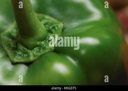 Green Pepper Macro Close-up - Stock Image