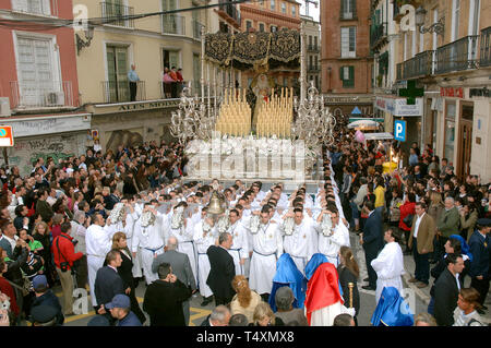 Holy Week. Brotherhood of The Last Supper (throne of the Virgin). Malaga. Costa del Sol. Region of Andalusia. Spain. Europe - Stock Image