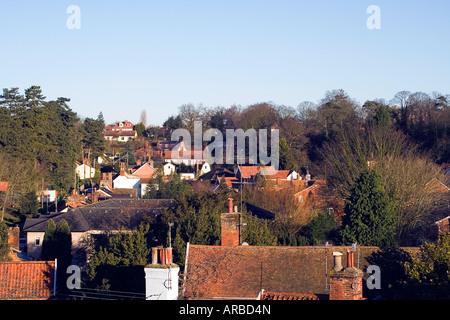 Woodbridge Houses Rooftops Suffolk England - Stock Image