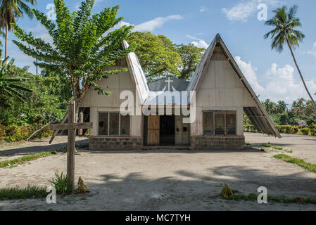 Christian church among palms, Mushu Island, Papua New Guinea - Stock Image