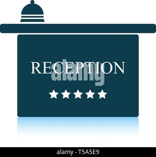 Hotel reception desk icon. Shadow reflection design. Vector illustration. - Stock Image