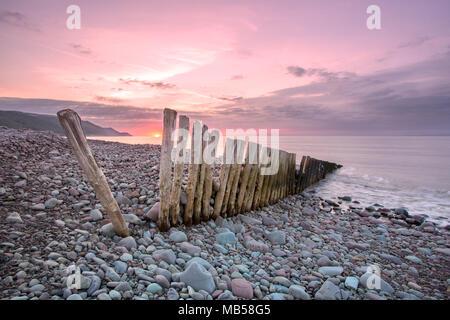 Sunset at Bossington bay Exmoor Somerset - Stock Image