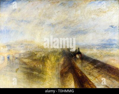 JMW Turner, Rain Steam and Speed, The Great Western Railway, painting, 1844 - Stock Image