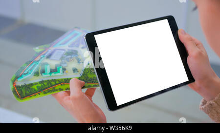 Tablet augmented reality app - empty white touchscreen display of tablet - Stock Image