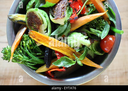 Bowl of fresh roasted vegetables - Stock Image