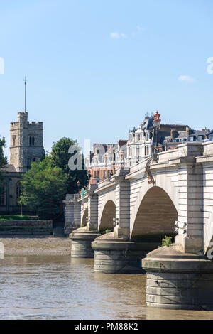 Putney Bridge and River Thames, Putney, London Borough of Wandsworth, Greater London, England, United Kingdom - Stock Image