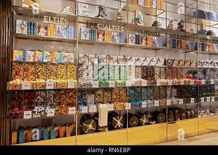 A variety of beautifully packaged chocolates for sale ay Velchi, a European chocolatier store off Union Square Park in Manhattan, New York City. - Stock Image