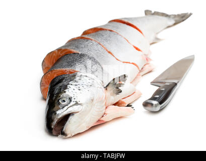 Fresh  whole raw salmon cut into slices isolated on white - Stock Image
