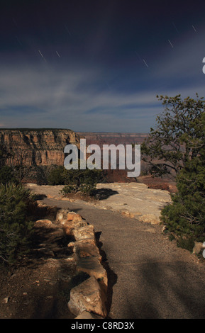 Grand Canyon National Park by moonlight at Yavapai view point. - Stock Image